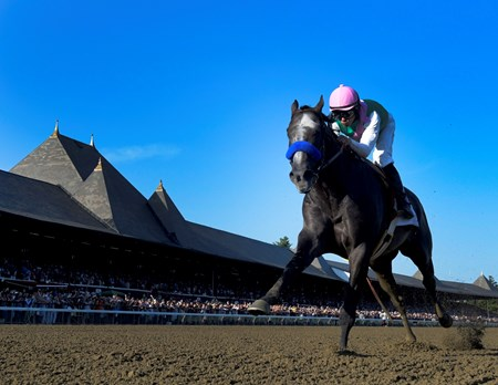 Arrogate heads to the wire and a track record win in the 147th running of the Travers Stakes at Saratoga Race Course August 27, 2016 in Saratoga Springs, N.Y.