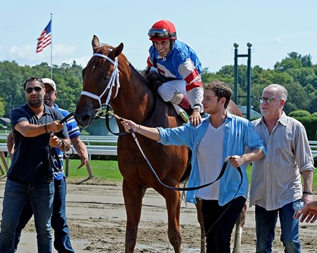 Syndergaard wins the Funny Cide. Leadin with 3 owners Saratoga scenes on Aug. 26, 2016, in Saratoga Springs, N.Y.