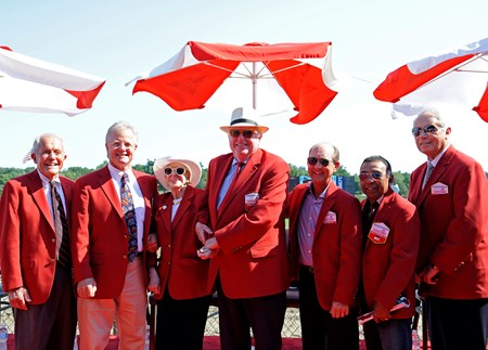l-r, Campbell, Mott, Whitney, Durkin, Bailey, Cordero, Lukas Walk of Fame (red coats) with Bill Mott and Cot Campbell on Aug. 26, 2016, in Saratoga Springs, N.Y.