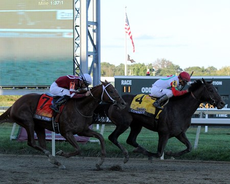 Connect (#4) with Javier Castellano win the 40th Running of the Pennsylvania Derby (GII) at Parx on September 24, 2016 over Gun Runner (#7) with Florent Geroux.