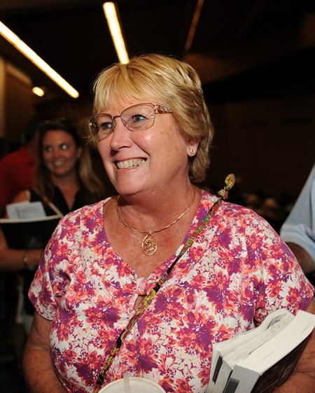 Mandy Pope after buying hip 582 and 583. Hip 582 filly Tapit from Quiet Giant and Taylor Made brings $1.4 from Mandy Pope Yearlings at Keeneland on Sept. 14, 2016, in Lexington, Ky.