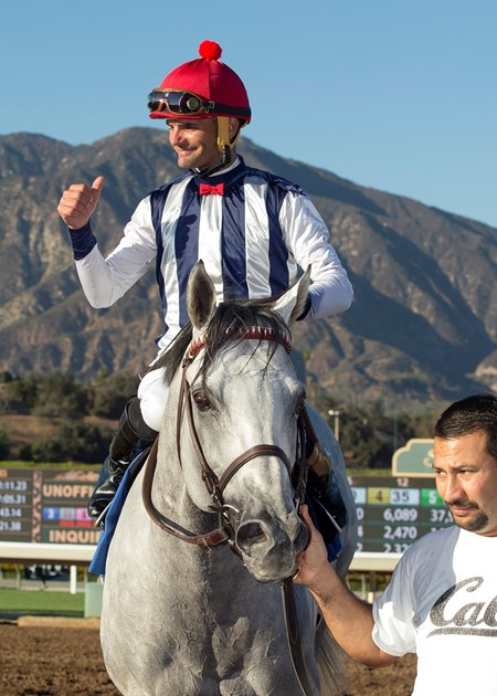 Holy Lute and jockey Jamie Theriot win the second division of the 2016 Eddie D Stakes, Friday, September 30, 2016 at Santa Anita Park, Arcadia CA.