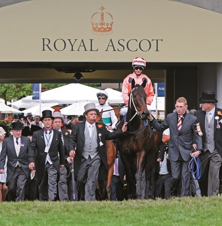 Black Caviar (salmon silks, black dots) goes 22 for 22 with her tight victory over Moonlight Cloud (rail) in Royal Ascot's closing day Diamond Jubilee Stakes