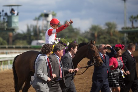 Bobby's Kitten and jockey Joel Rosario win the Breeders' Cup Turf Sprint at Santa Anita Park on November 1, 2014.