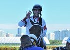 Edgard Zayas celebrates after his fifth win on the Sept. 16 card at Gulfstream Park.