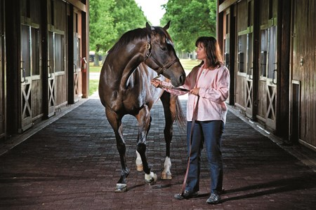 Stonestreet Farm owner Barbara Banke, right, visits Hot Dixie Chick