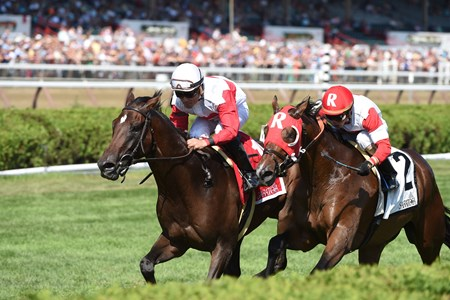 Inspector Lynley wins the Saranac Stakes (gr. III) at Saratoga.