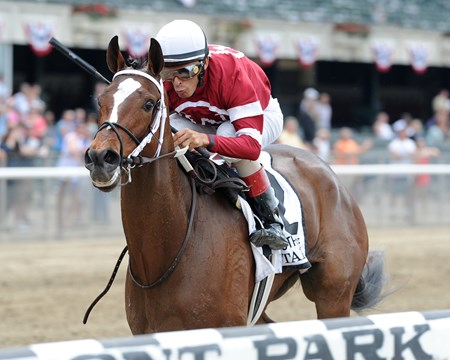 Untapable wins the 2014 Mother Goose.