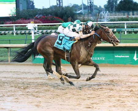 Daddys Lil Darling winning the Pocahontas Stakes last fall at Churchill Downs