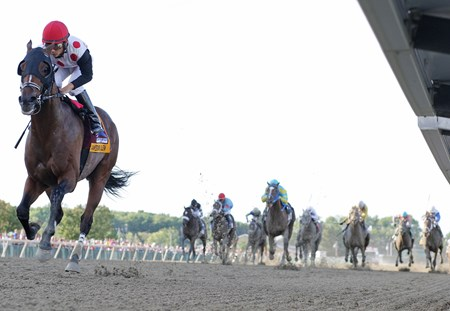 Awesome Slew, with Paco Lopez riding, won the $300,000 Grade III Smarty Jones Stakes at Parx Racing in Bensalem, Pennsylvania on Sept. 5, 2016.