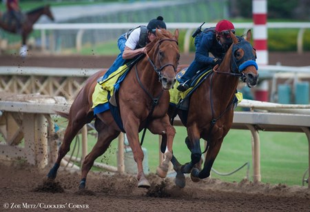 Hoppertunity and Dortmund (in company) 5 furlongs, Hoppertunity in :59.40 and Dortmund in :59.20 on Sept. 12, 2016