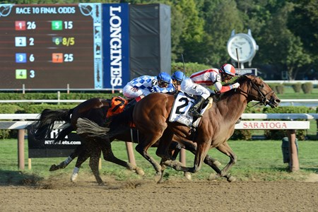 Practical Joke wins the Hopeful Stakes (gr. I) at Saratoga Sept. 5, 2016.