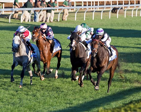 Miss Temple City (right) with Edgar Prado up wins The 31st Running of The Shadwell Turf Mile (gr. 1) at Keeneland on , Saturday Oct. 8, 2016  in Lexington, Ky.