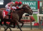 "Practical Joke (#1) gets his head in front at the wire in the Champagne<br><a target=""blank"" href=""http://photos.bloodhorse.com/AtTheRaces-1/At-the-Races-2016/i-rMSxNh5"">Order This Photo</a>"
