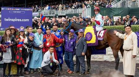 Mongolian Saturday #14 and jockey Florent Geroux win the Breeders' Cup Turf Sprint at Keeneland on October 31, 2015.  Photo By: Anne M. Eberhardt