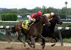 "Yellow Agate (outside) catches Libby's Tail to win the Frizette<br><a target=""blank"" href=""http://photos.bloodhorse.com/AtTheRaces-1/At-the-Races-2016/i-kWQg65f"">Order This Photo</a>"