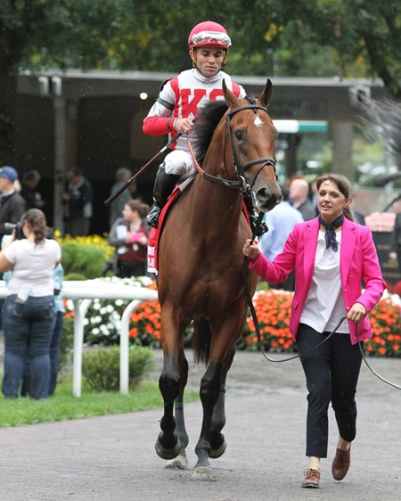 Practical Joke with Joel Rosario heading to the track prior to winning the 145th Running of The Champagne (GI) at Belmont Park on October 8, 2016.