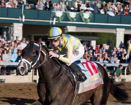 Classic Empire with Julien Leparoux up wins The 103rd Running of The Claiborne Breeders' Futurity (gr. 1) at Keeneland on , Saturday Oct. 8, 2016  in Lexington, Ky.