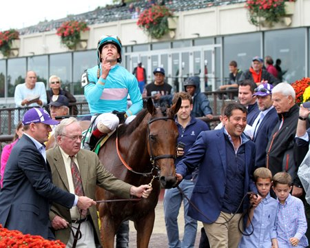 Lady Eli after winning the Flower Bowl Oct. 8 at Belmont Park