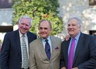 Larry Conley, Dick Enberg, and Tom Hammonds at Keeneland in October 2016