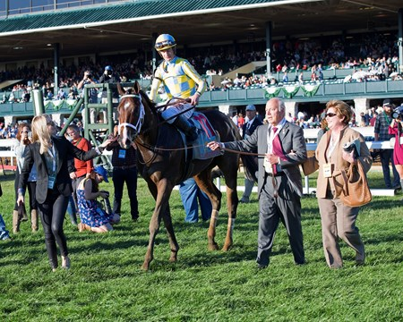 Oxleys lead in Classic Empire with Julien Leparoux up wins The 103rd Running of The Claiborne Breeders' Futurity (gr. 1) at Keeneland on , Saturday Oct. 8, 2016  in Lexington, Ky.