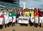 Rafael Hernandez celebrates 2000th winner Oct. 8 with Woodbine's jockey colony