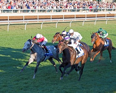 Miss Temple City (inside) holds off Ironicus to win the Shadwell Turf Mile