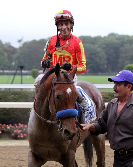 Hoppertunity with John Velazquez after winning the 98th Running of The Jockey Club Gold Cup at Belmont Park on October 8, 2016.