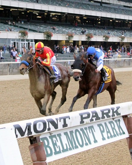 Hoppertunity (#3) with John Velazquez win the 98th Running of the Jockey Club Gold Cup at Belmont Park over Effinex (#6) with Mike Smith on October 8, 2016.