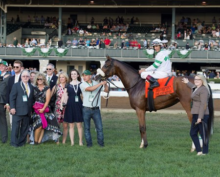 Time and Motion with John Velazquez wins the Queen Elizabeth II Challenge Cup (gr. IT) presented by Lane's End at Keeneland on Oct. 15, 2016, in Lexington, Ky.