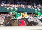 A big Keeneland crowd watches Irish Jasper win Thoroughbred Club of America (gr. II) Oct. 8