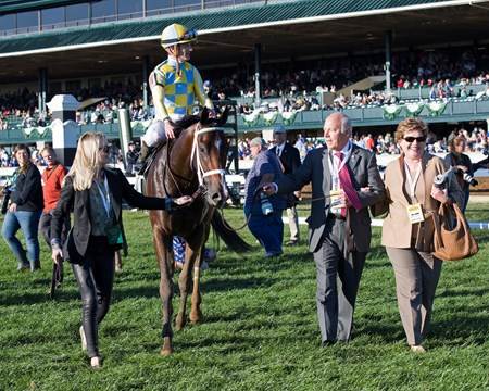 Oxleys walk in Classic Empire with Julien Leparoux up wins The 103rd Running of The Claiborne Breeders' Futurity (gr. 1) at Keeneland on , Saturday Oct. 8, 2016  in Lexington, Ky.
