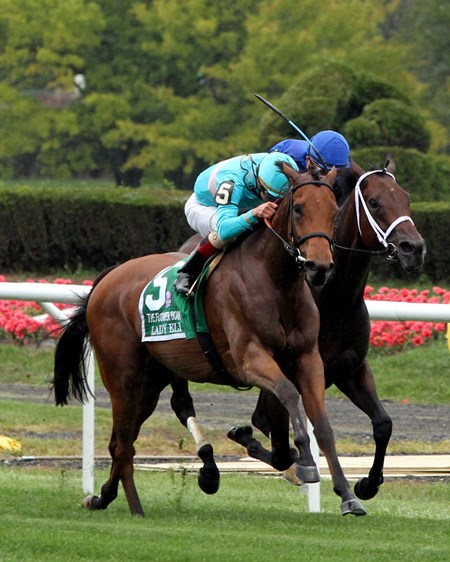 Lady Eli (#5) with Irad Ortiz Jr. wins the 39th Running of the Flower Bowl (GI) at Belmont Park on October 8, 2016 over Sentiero Italia (#4) with Joel Rosario.