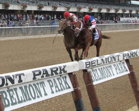 Practical Joke (#1) with Joel Rosario win the 98th Running of The Champagne (GI) over Syndergaard (#3) with John Velazquez at Belmont Park on October 8, 2016.