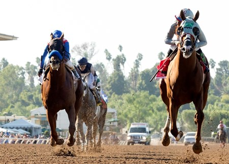California Chrome and Victor Espinoza win the 2016 Awesome Again Stakes Saturday, Oct. 1, 2016 at Santa Anita Park, Arcadia, CA.
