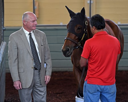 Richard Mandella with Beholder Schooling at Santa Anita. Works at Santa Anita in preparation for 2016 Breeders' Cup on Oct. 30, 2016, in Arcadia, CA.