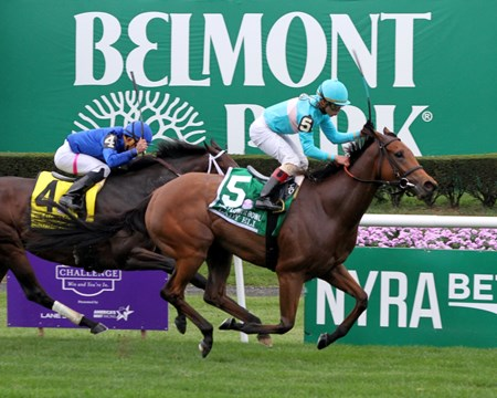 Lady Eli (#5) with Irad Ortiz Jr. win the 39th Running of The Flower Bowl (GI) at Belmont Park on October 8, 2016 over Sentiero Italia (#4) with Joel Rosario.