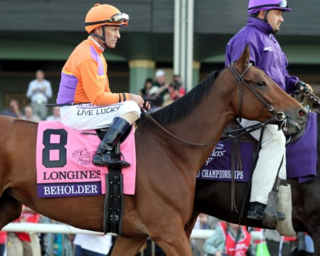 Beholder with Gary Stevens in the post parade prior to winning the Breeders' Cup Distaff (GI) at Santa Anita on November 4, 2016.