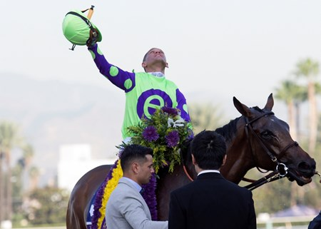Javier Castellano and New Money Honey celebrate after winning the the Breeders' Cup Juvenile Fillies Turf at Santa Anita on 11/4/16