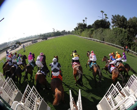 The start of the Breeders' Cup Turf (GI) at Santa Anita on November 5, 2016.