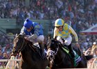 Classic Empire, right, winning the Breeders' Cup Juvenile at Santa Anita