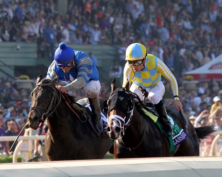Classic Empire with Julien Leparoux beat Not This TIme with Robby Albarado to win the Breeders' Cup Juvenile (GI) at Santa Anita on November 5, 2016.