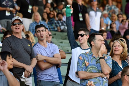 People react to a race at the Breeders Cup at Santa Anita, Saturday, November 5, 2016.