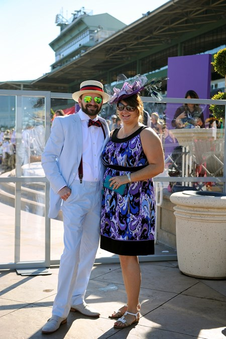 Matthew Hedge and Debbie Sabey dress up at the Breeders Cup at Santa Anita, Saturday, November 5, 2016.