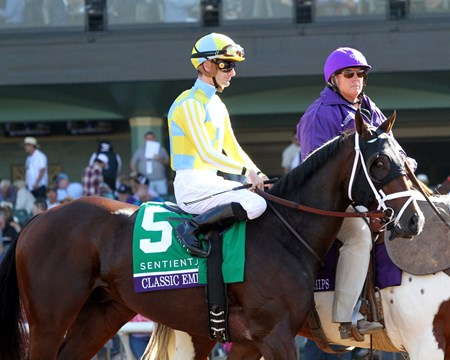 Classic Empire with Julien Leparoux in the post parade prior to winning the Breeders' Cup Juvenile at Santa Anita on November 5, 2016.