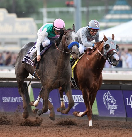 Arrogate on the outside passes California Chrome on the way to the victory in the Breeders' Cup Classic at Santa Anita Park Nov. 5, 2016 in Arcadia, California.