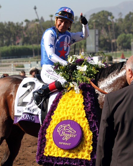Martin Garcia after winning the Breeders' Cup Sprint (GI) aboard Drefong at Santa Anita on November 5, 2016.