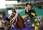 Finest City and jockey Mike Smith after their win in the Breeders' Cup Filly & Mare Sprint (G1)