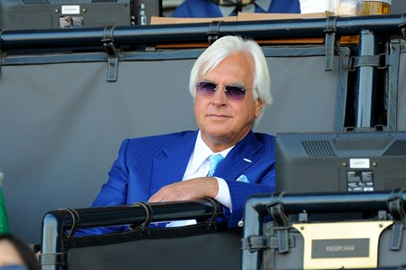 Trainer Bob Baffert watches the action at the Breeders Cup at Santa Anita, Saturday, November 5, 2016.