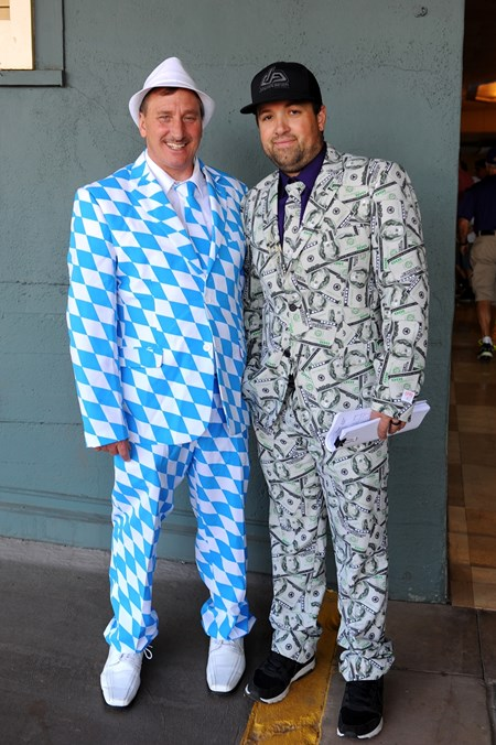 Michael Parrett, left, and Dustin Doerflinger dress up at the Breeders Cup at Santa Anita, Saturday, November 5, 2016.